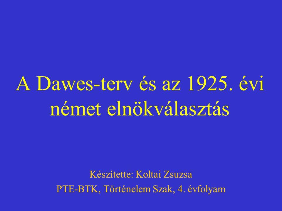 A Dawes-terv és az 1925. évi német elnökválasztás