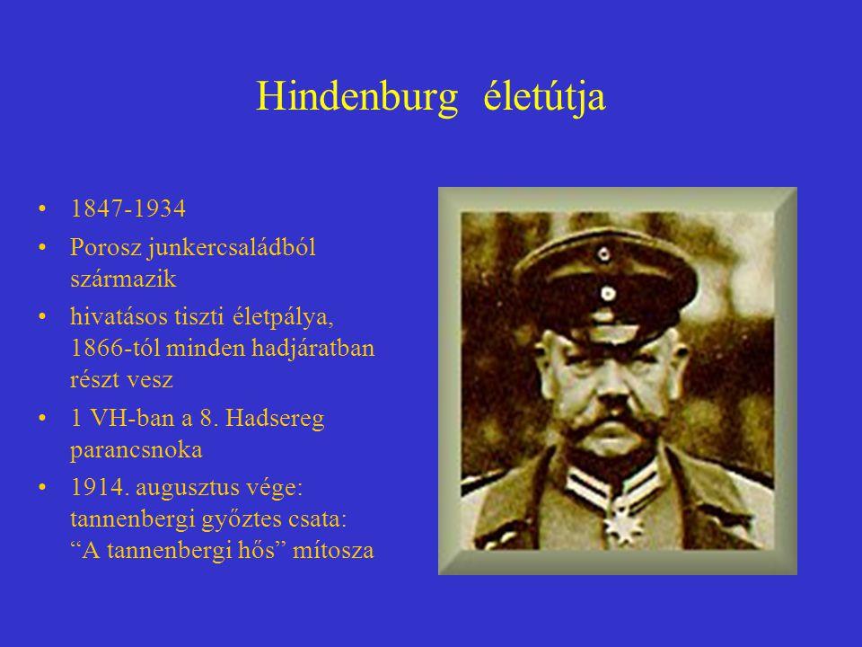 Hindenburg életútja 1847-1934 Porosz junkercsaládból származik
