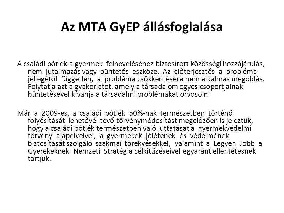 Az MTA GyEP állásfoglalása