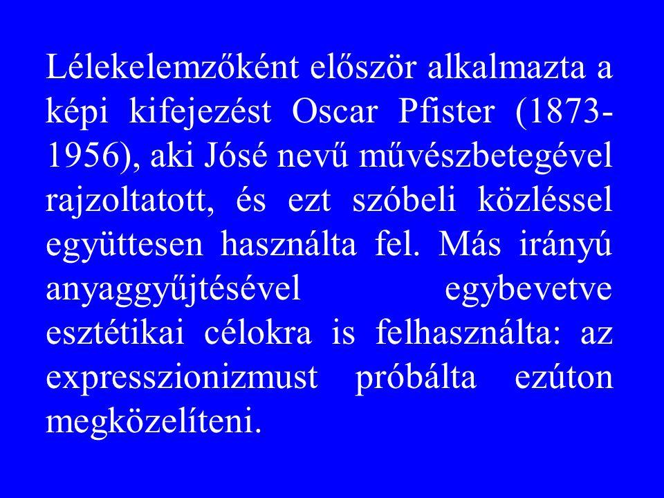 Lélekelemzőként először alkalmazta a képi kifejezést Oscar Pfister (1873-1956), aki Jósé nevű művészbetegével rajzoltatott, és ezt szóbeli közléssel együttesen használta fel.