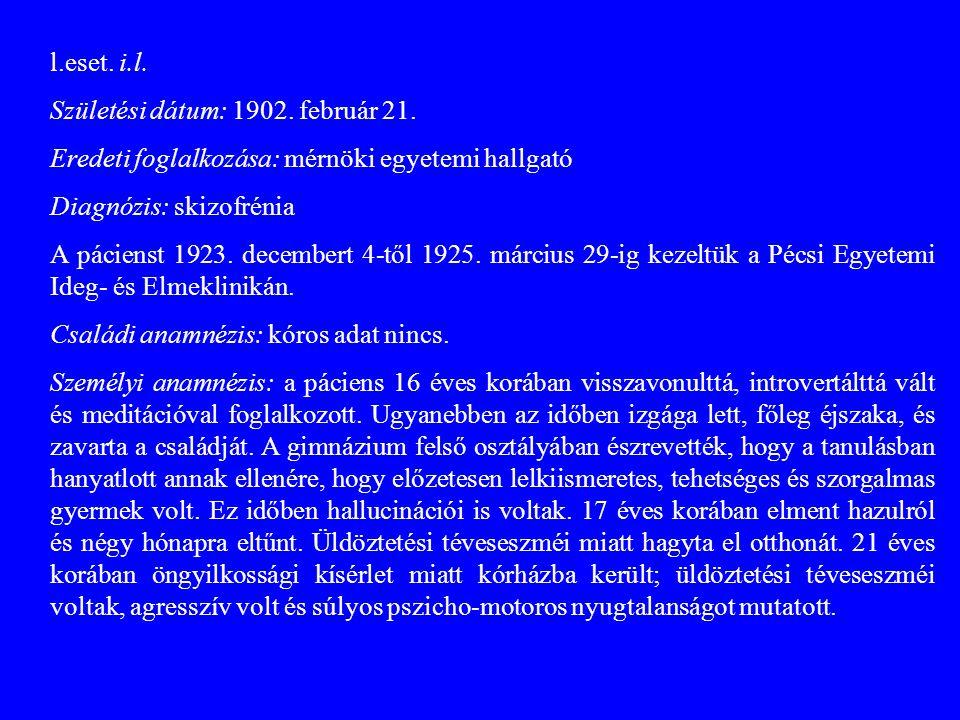 l.eset. i.l. Születési dátum: 1902. február 21. Eredeti foglalkozása: mérnöki egyetemi hallgató. Diagnózis: skizofrénia.