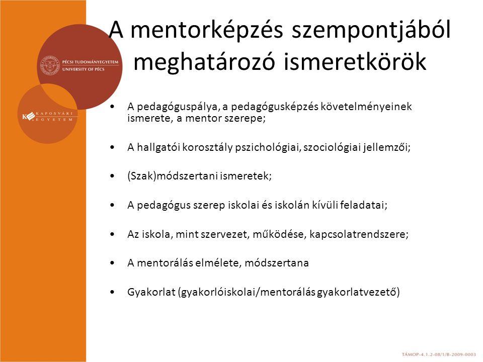 A mentorképzés szempontjából meghatározó ismeretkörök