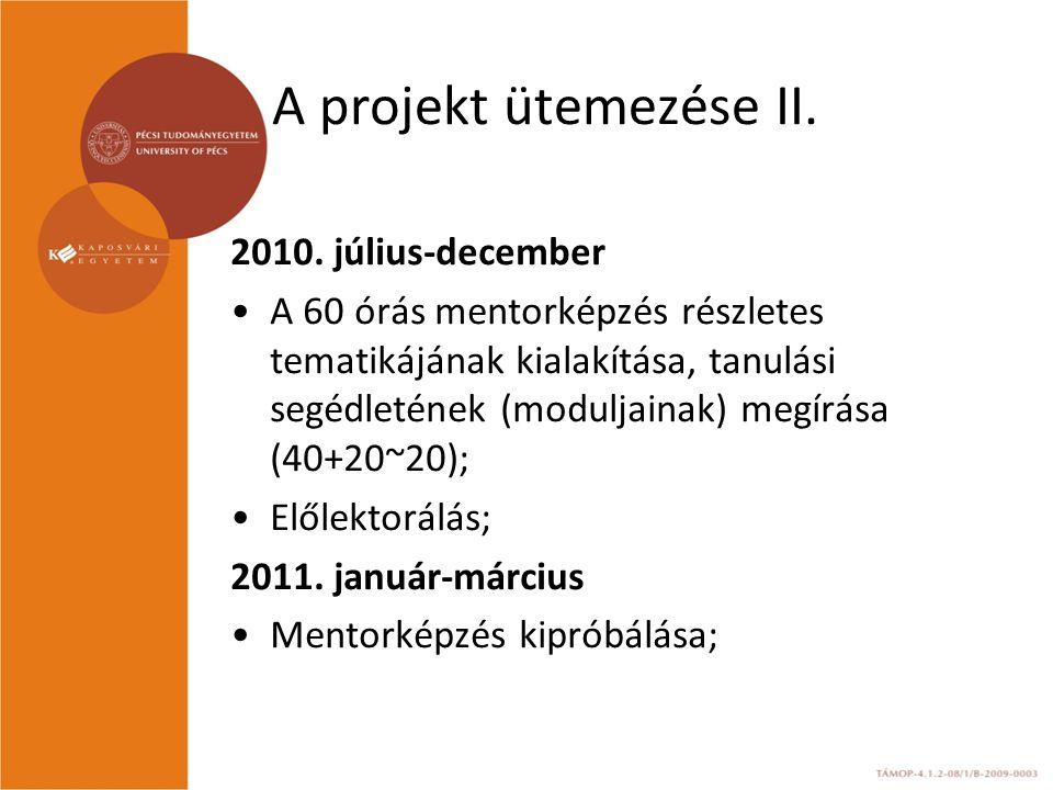 A projekt ütemezése II. 2010. július-december