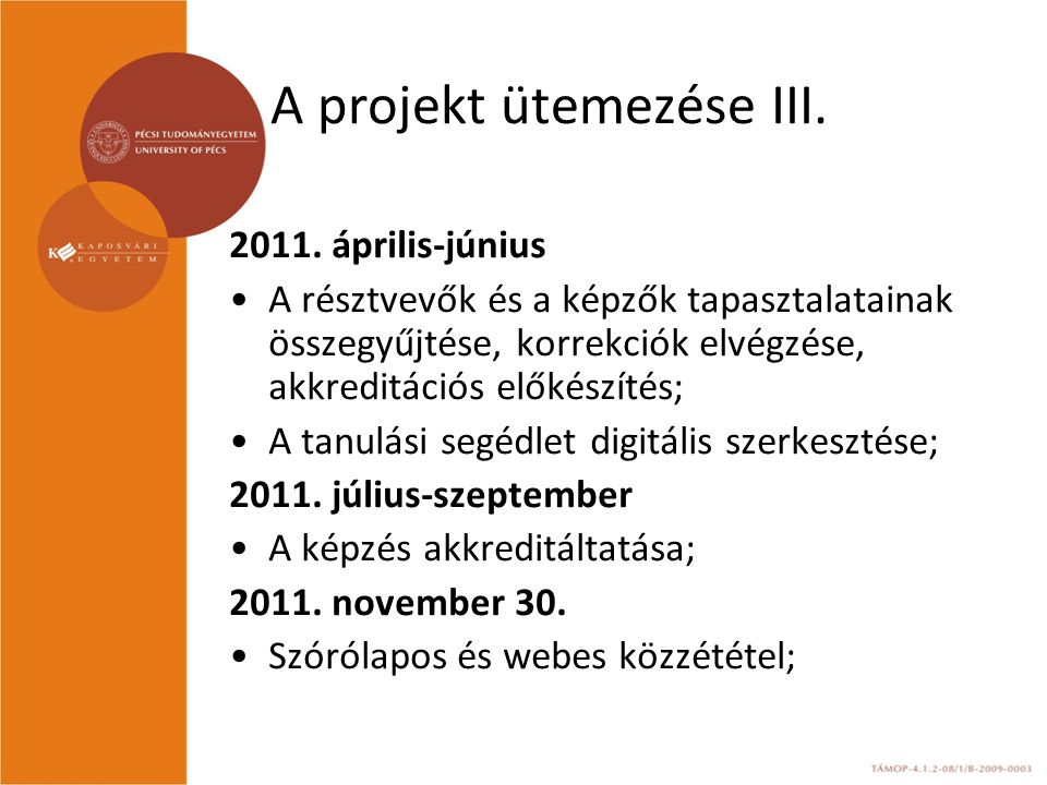 A projekt ütemezése III.