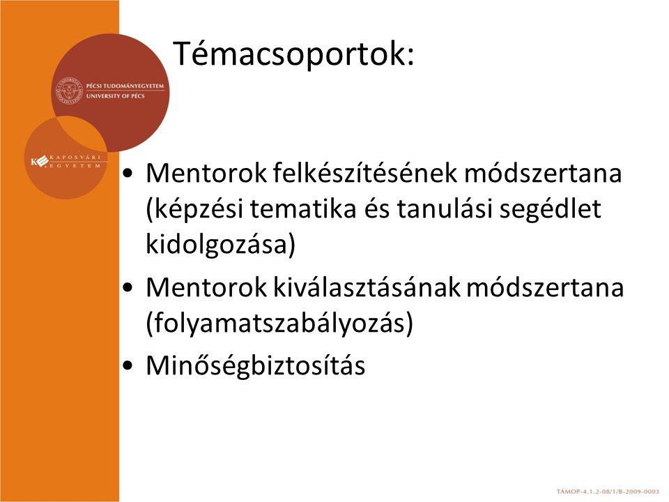 Témacsoportok: Mentorok felkészítésének módszertana (képzési tematika és tanulási segédlet kidolgozása)