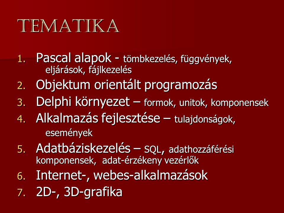 Tematika Pascal alapok - tömbkezelés, függvények, eljárások, fájlkezelés. Objektum orientált programozás.