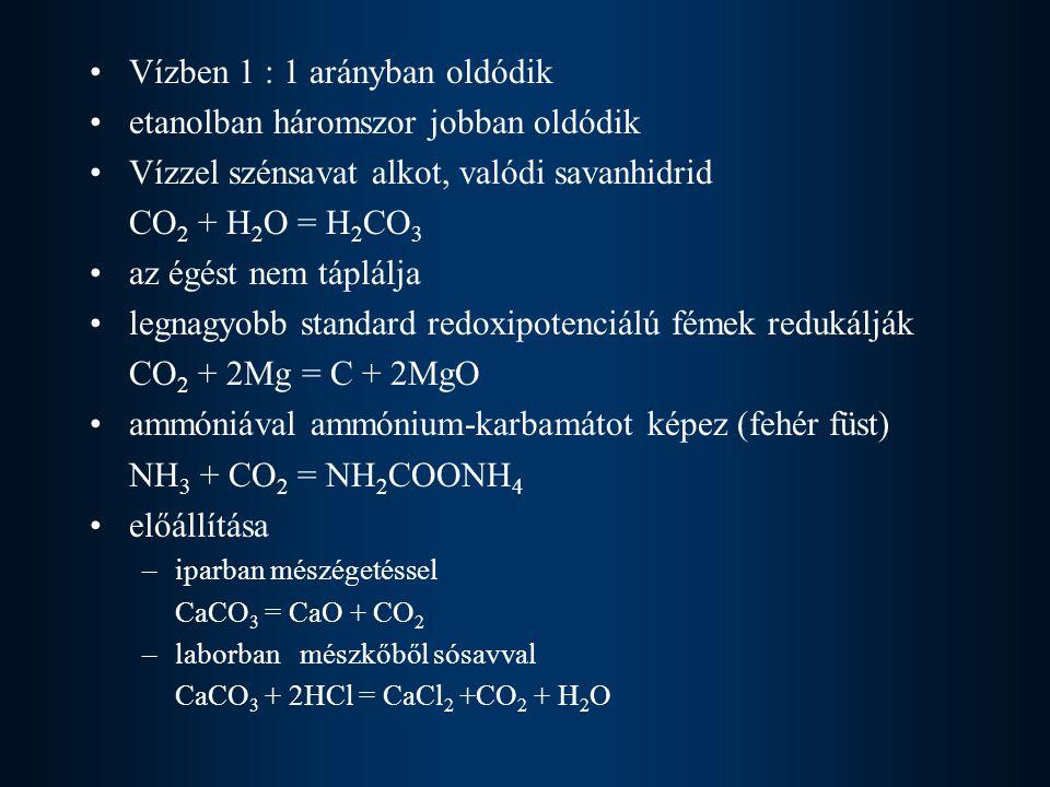 Vízben 1 : 1 arányban oldódik etanolban háromszor jobban oldódik