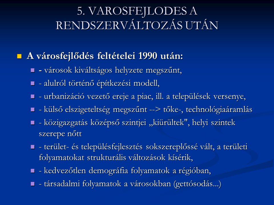 5. VAROSFEJLODES A RENDSZERVÁLTOZÁS UTÁN