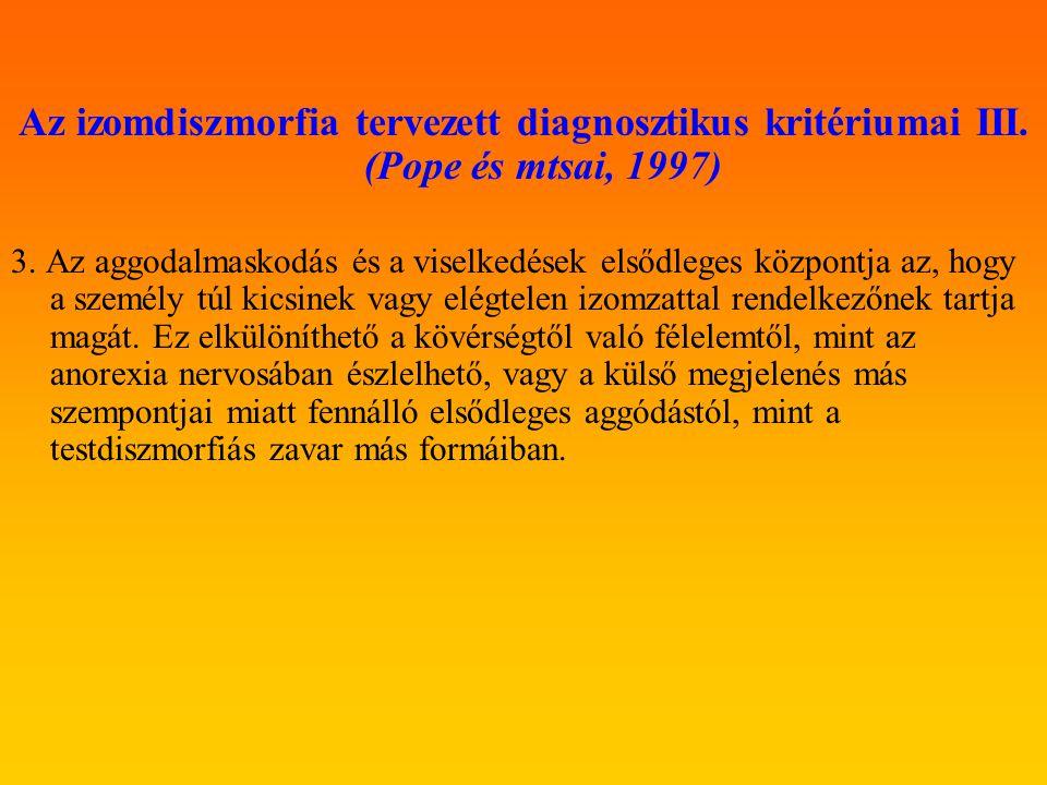 Az izomdiszmorfia tervezett diagnosztikus kritériumai III. (Pope és mtsai, 1997)