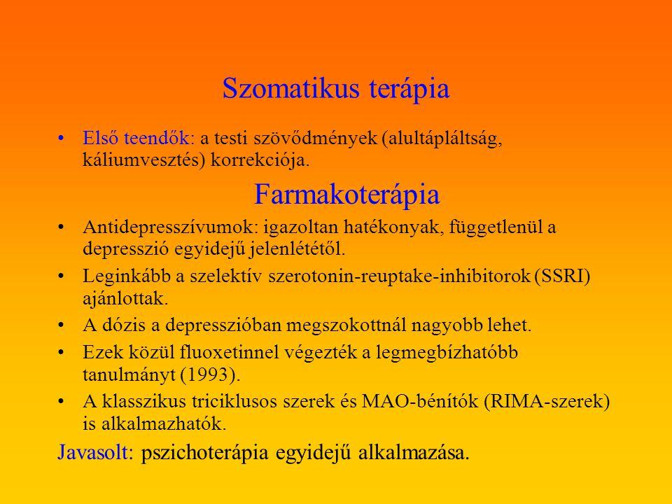 Szomatikus terápia Javasolt: pszichoterápia egyidejű alkalmazása.