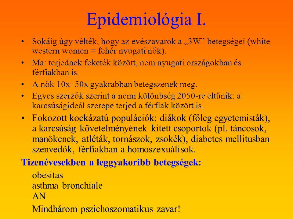 """Epidemiológia I. Sokáig úgy vélték, hogy az evészavarok a """"3W betegségei (white western women = fehér nyugati nők)."""