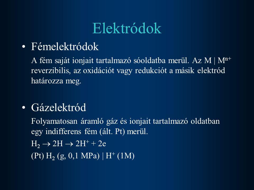 Elektródok Fémelektródok Gázelektród