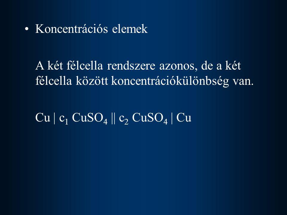 Koncentrációs elemek A két félcella rendszere azonos, de a két félcella között koncentrációkülönbség van.
