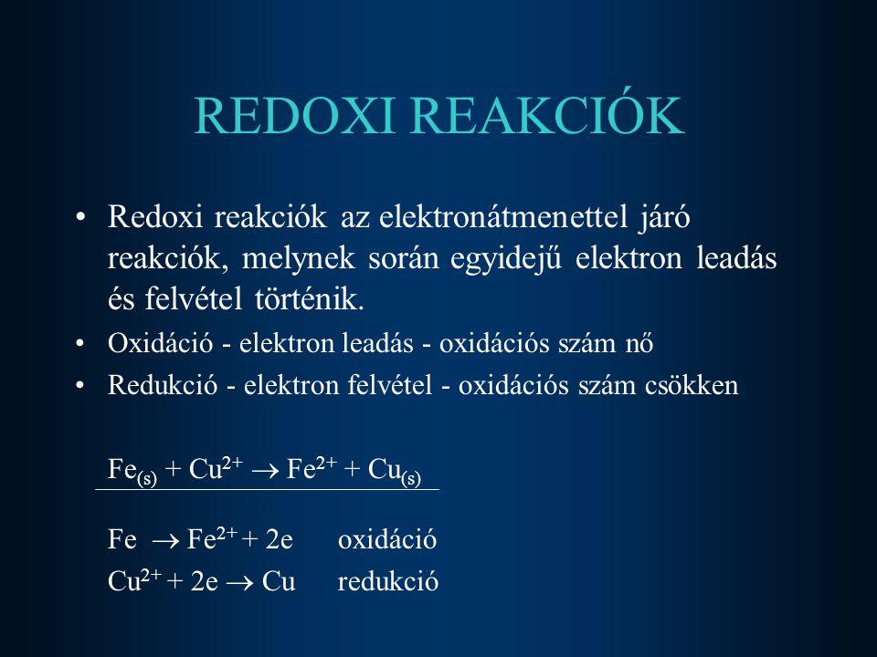 2017.04.04. REDOXI REAKCIÓK. Redoxi reakciók az elektronátmenettel járó reakciók, melynek során egyidejű elektron leadás és felvétel történik.