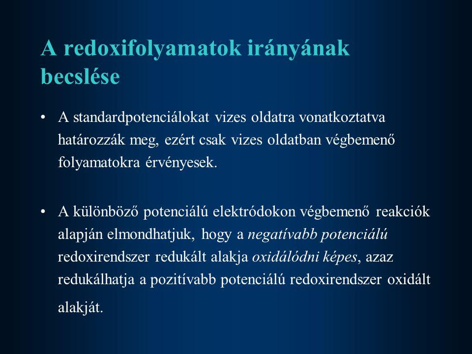 A redoxifolyamatok irányának becslése