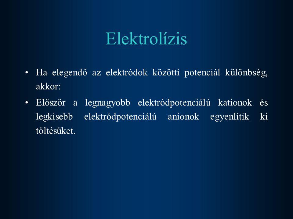 Elektrolízis Ha elegendő az elektródok közötti potenciál különbség, akkor: