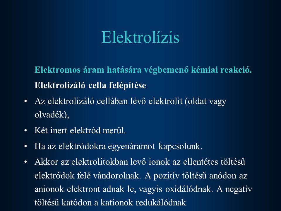 Elektrolízis Elektromos áram hatására végbemenő kémiai reakció.