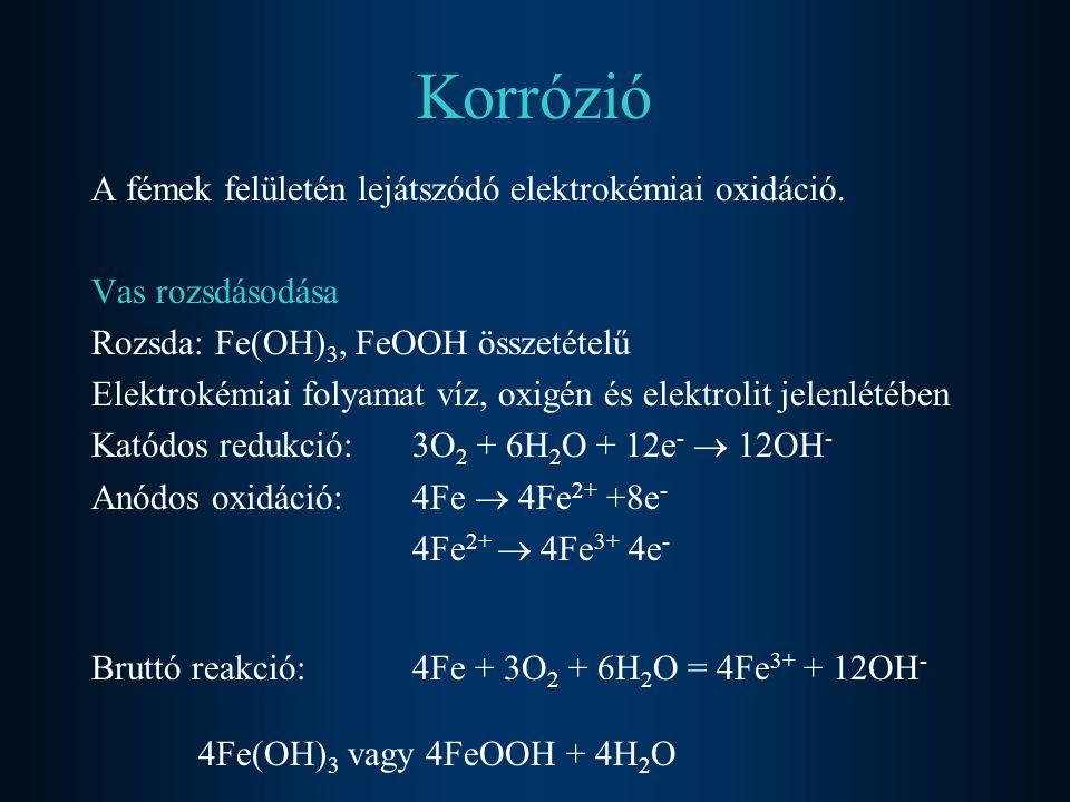 Korrózió A fémek felületén lejátszódó elektrokémiai oxidáció.