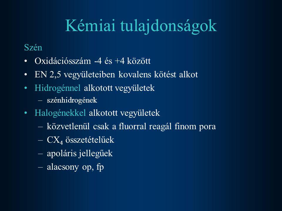 Kémiai tulajdonságok Szén Oxidációsszám -4 és +4 között