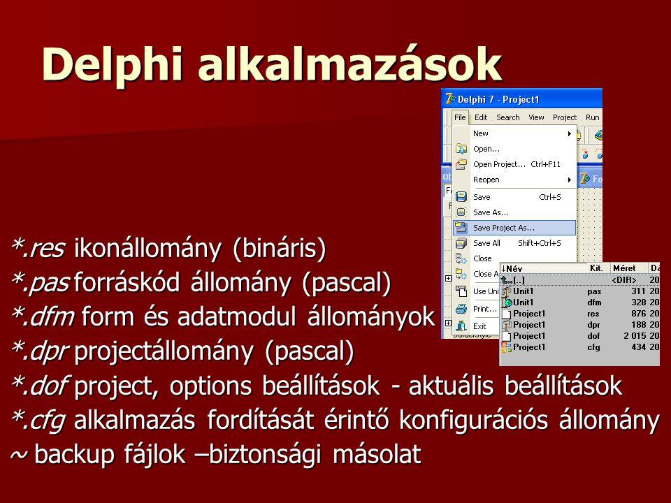 Delphi alkalmazások *.res ikonállomány (bináris)