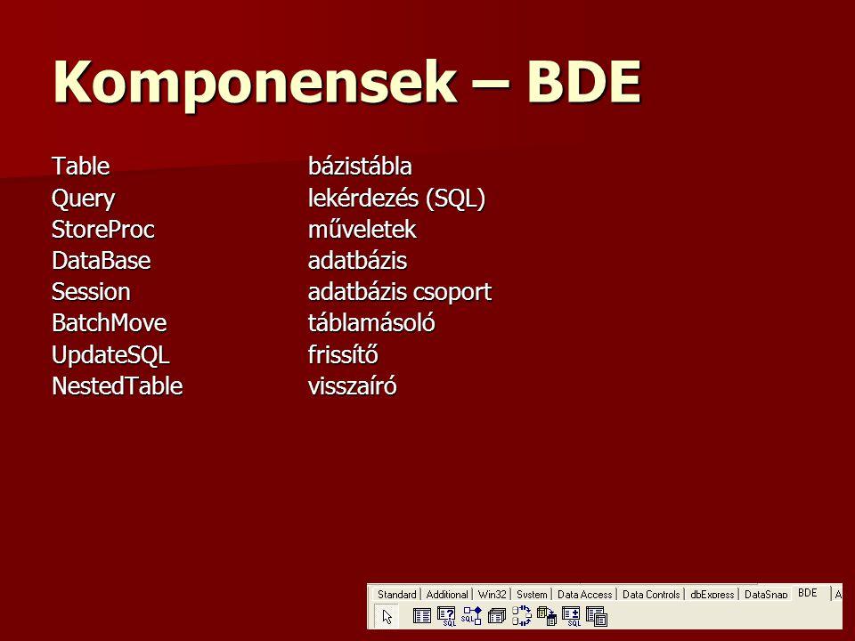 Komponensek – BDE Table bázistábla Query lekérdezés (SQL)