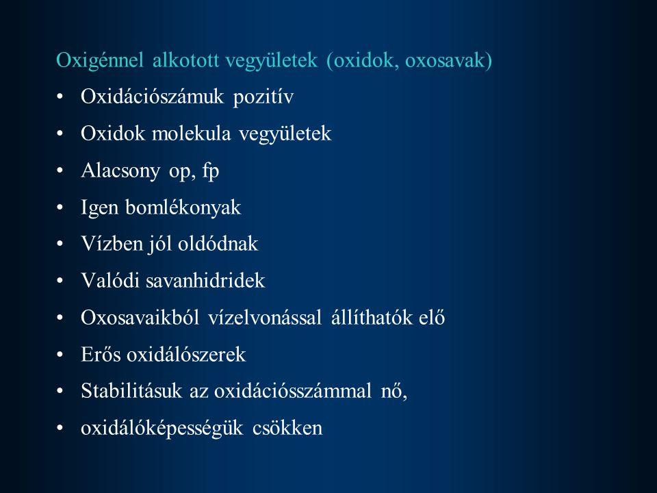 Oxigénnel alkotott vegyületek (oxidok, oxosavak)