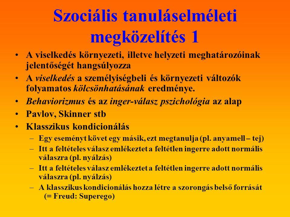 Szociális tanuláselméleti megközelítés 1