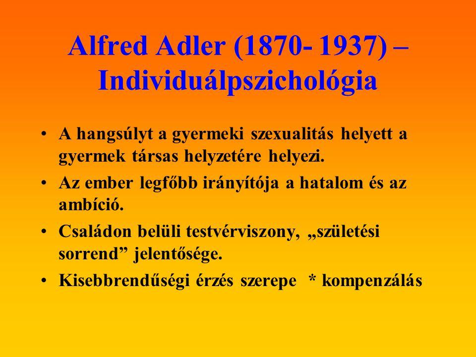 Alfred Adler (1870- 1937) – Individuálpszichológia