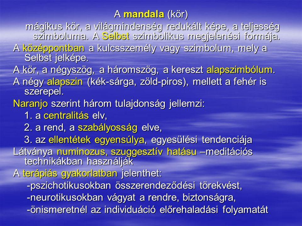 A mandala (kör) mágikus kör, a világmindenség redukált képe, a teljesség szimboluma. A Selbst szimbolikus megjelenési formája.