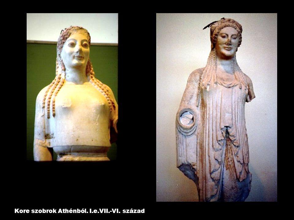 Kore szobrok Athénból. I.e.VII.-VI. század