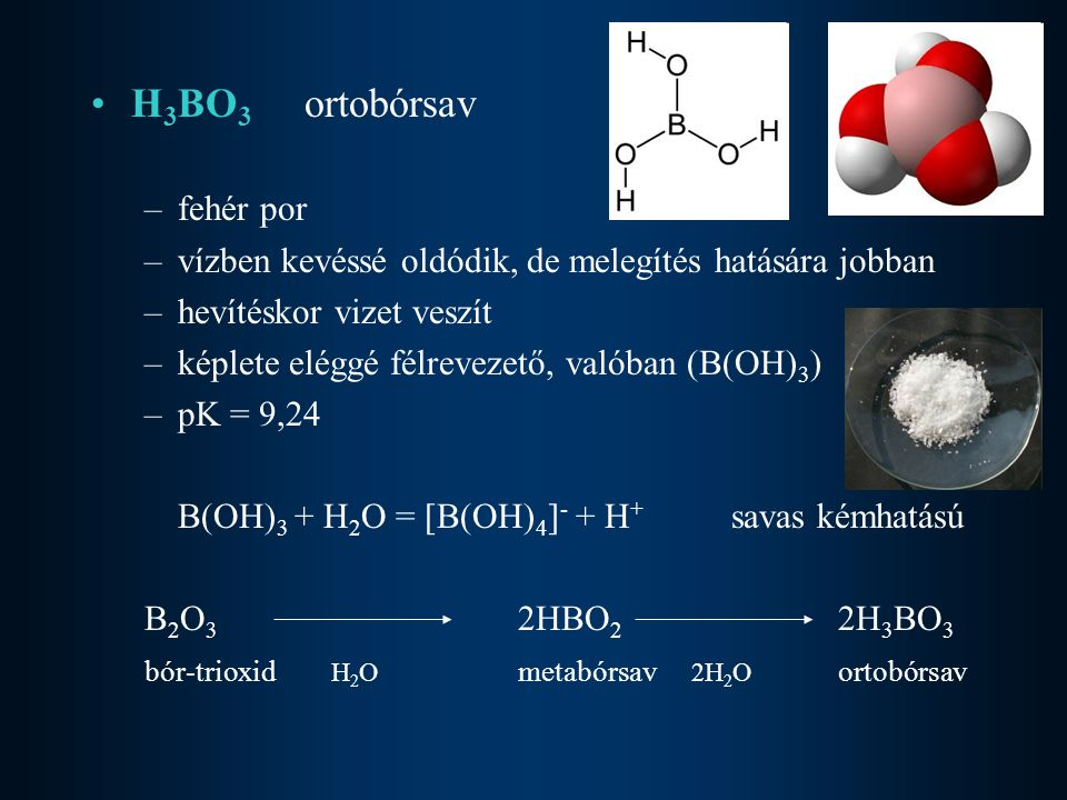 H3BO3 ortobórsav fehér por