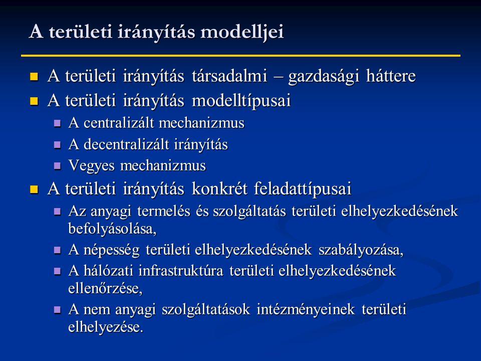A területi irányítás modelljei