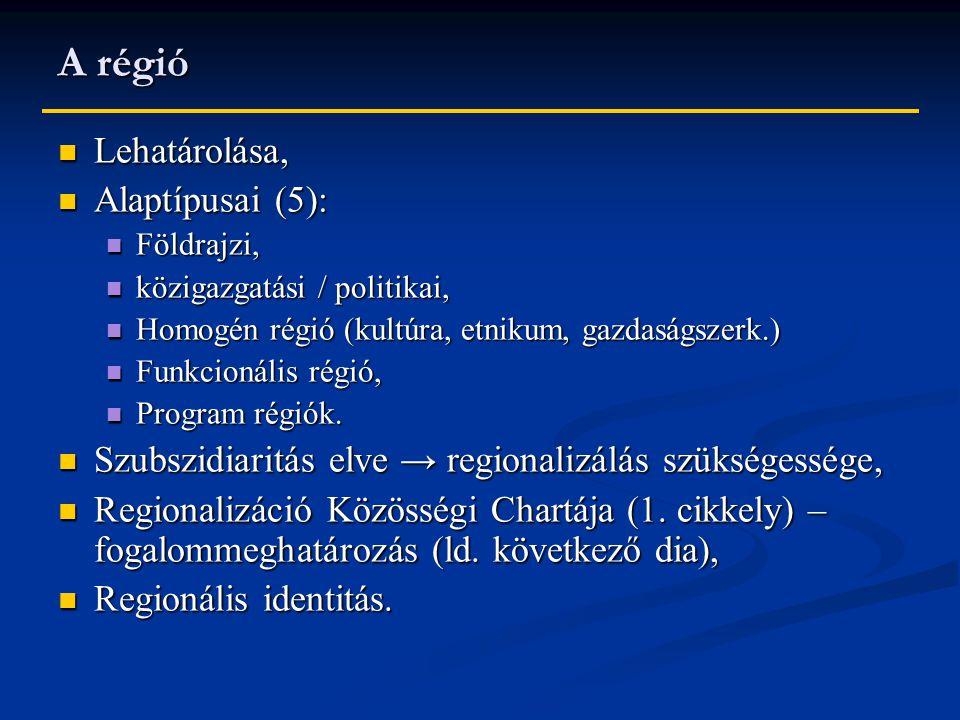 A régió Lehatárolása, Alaptípusai (5):