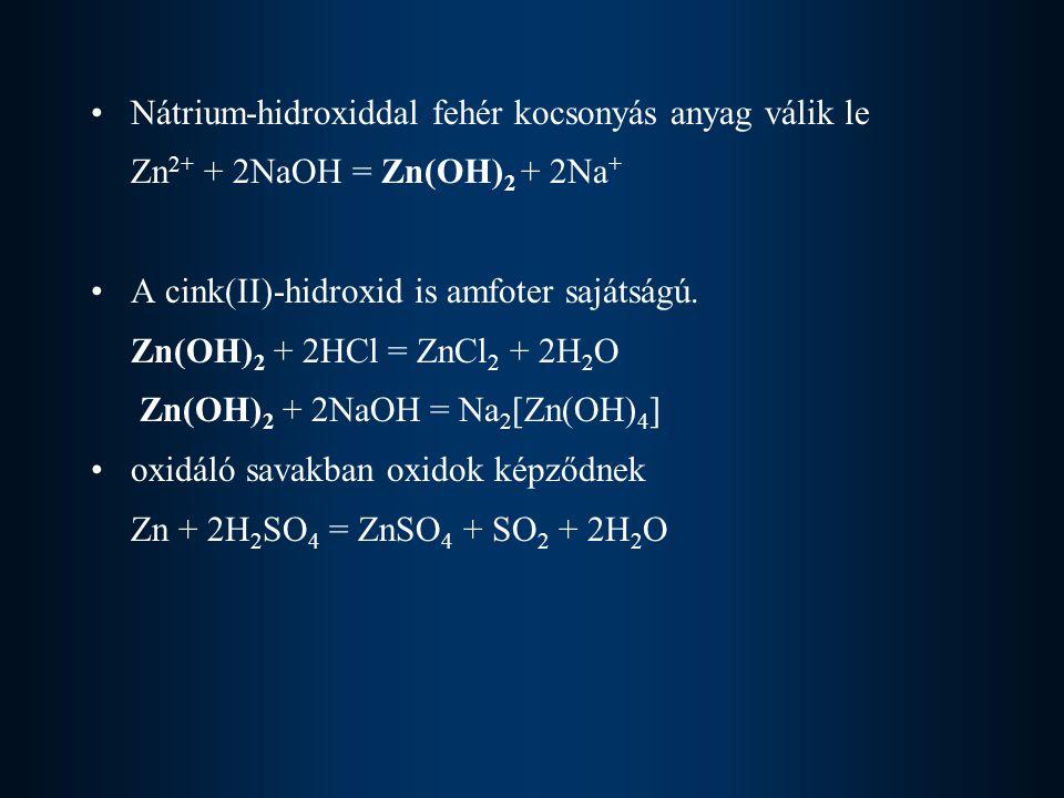 Nátrium-hidroxiddal fehér kocsonyás anyag válik le