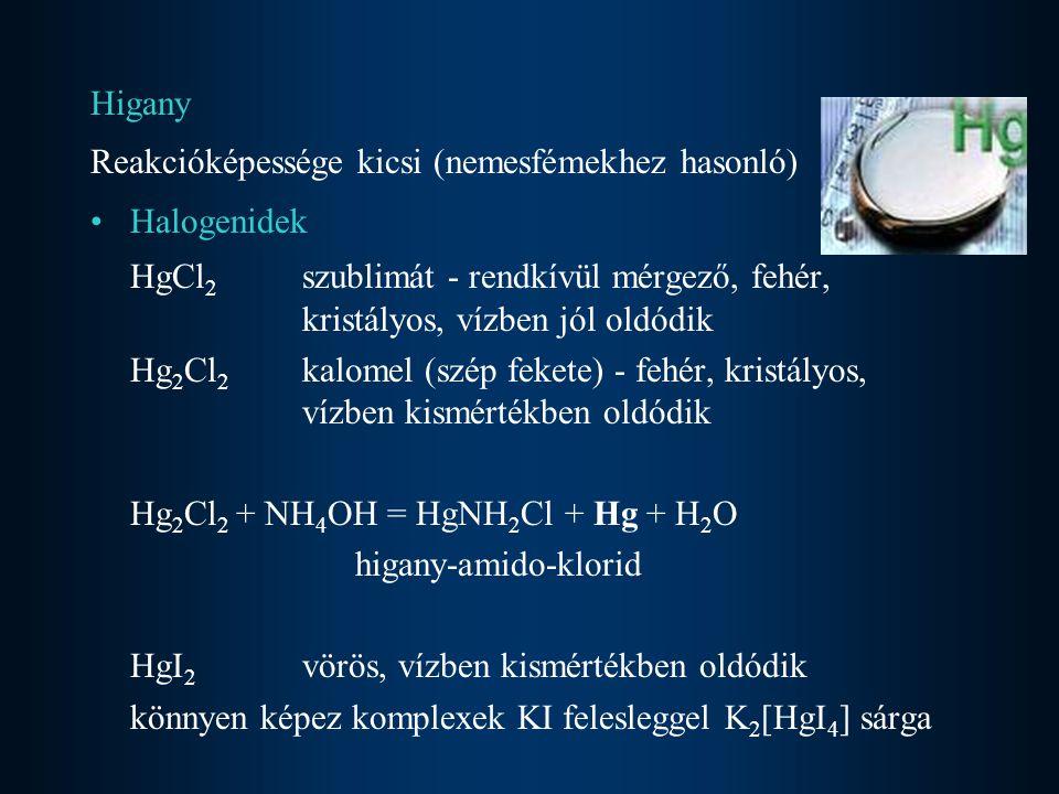 Higany Reakcióképessége kicsi (nemesfémekhez hasonló) Halogenidek. HgCl2 szublimát - rendkívül mérgező, fehér, kristályos, vízben jól oldódik.