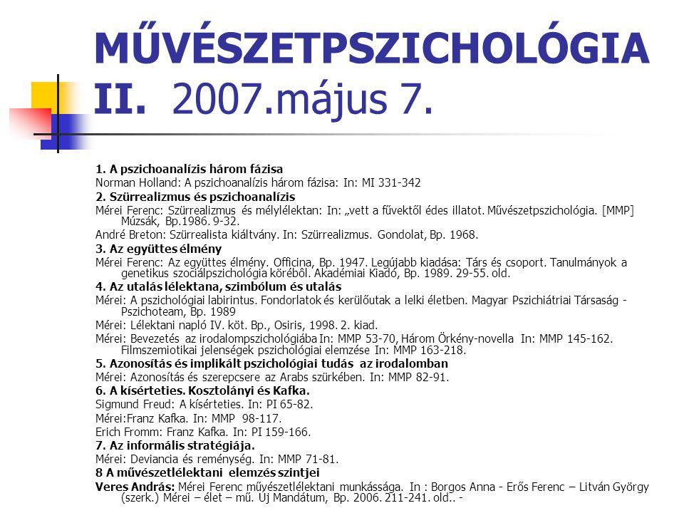 MŰVÉSZETPSZICHOLÓGIA II. 2007.május 7.