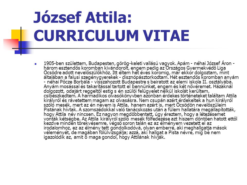 József Attila: CURRICULUM VITAE