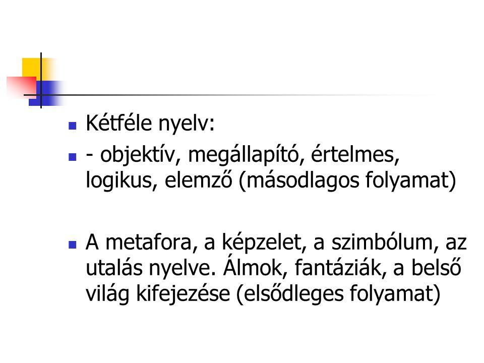 Kétféle nyelv: - objektív, megállapító, értelmes, logikus, elemző (másodlagos folyamat)