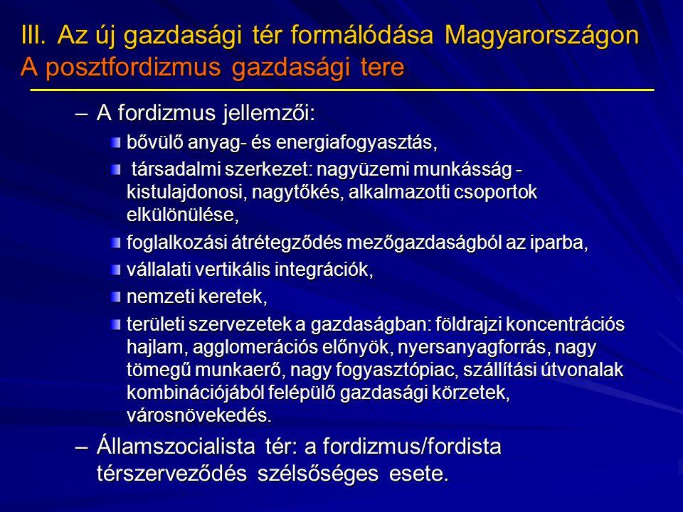 III. Az új gazdasági tér formálódása Magyarországon A posztfordizmus gazdasági tere