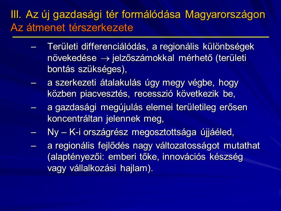 III. Az új gazdasági tér formálódása Magyarországon Az átmenet térszerkezete