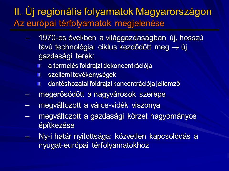 II. Új regionális folyamatok Magyarországon Az európai térfolyamatok megjelenése