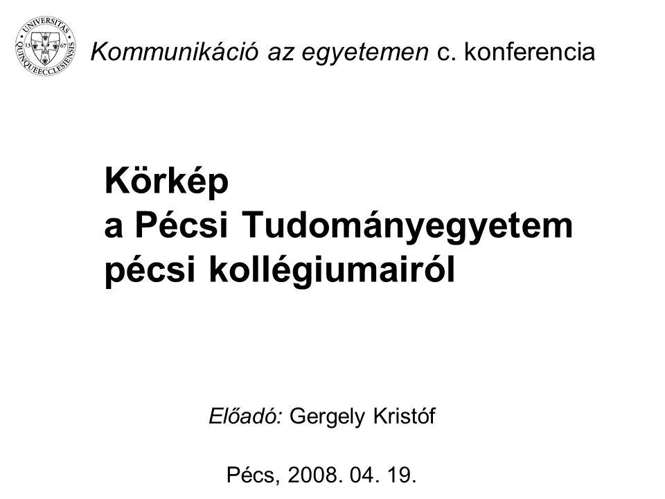 Körkép a Pécsi Tudományegyetem pécsi kollégiumairól