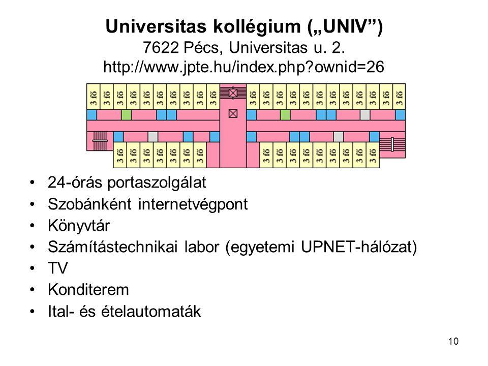"Universitas kollégium (""UNIV ) 7622 Pécs, Universitas u. 2. http://www"