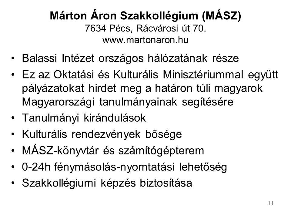 Márton Áron Szakkollégium (MÁSZ) 7634 Pécs, Rácvárosi út 70. www