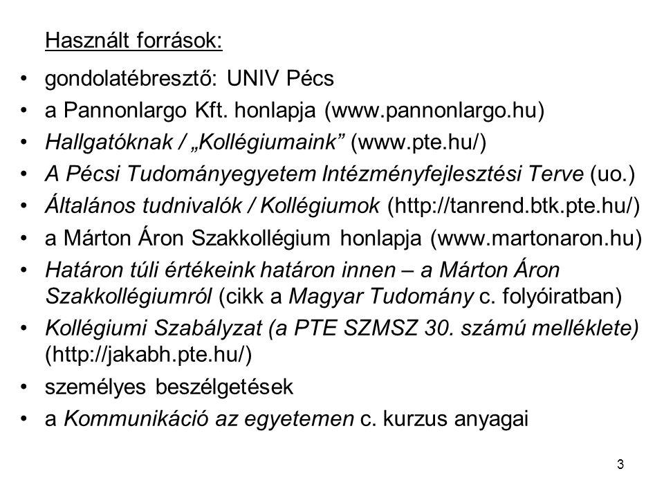 """Használt források: gondolatébresztő: UNIV Pécs. a Pannonlargo Kft. honlapja (www.pannonlargo.hu) Hallgatóknak / """"Kollégiumaink (www.pte.hu/)"""