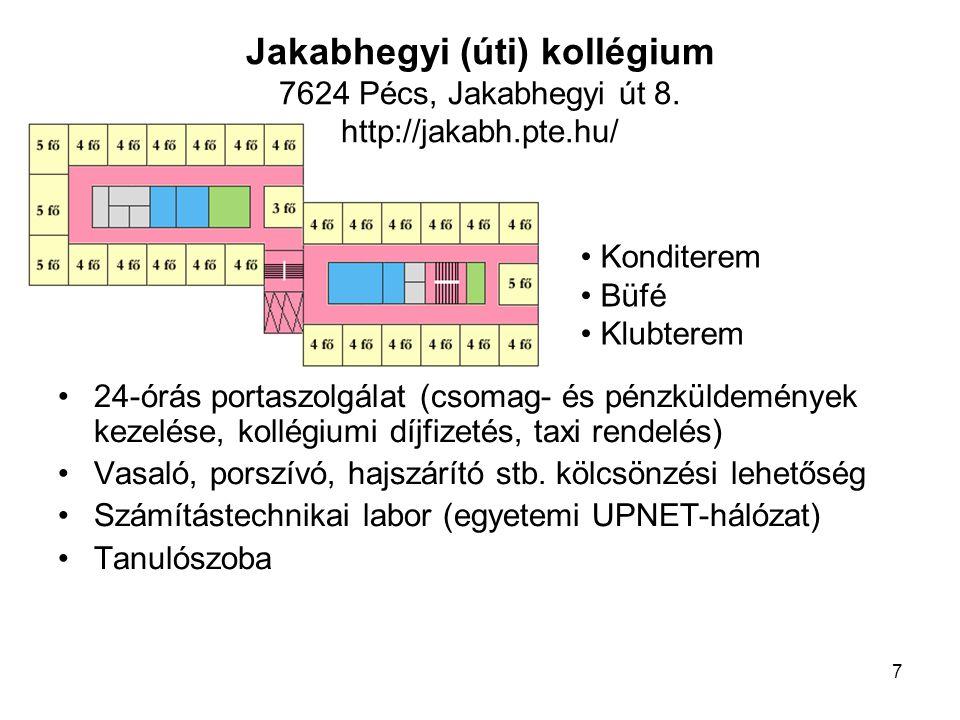 Jakabhegyi (úti) kollégium 7624 Pécs, Jakabhegyi út 8. http://jakabh