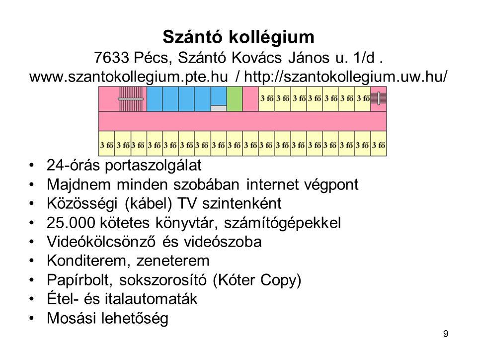 Szántó kollégium 7633 Pécs, Szántó Kovács János u. 1/d. www
