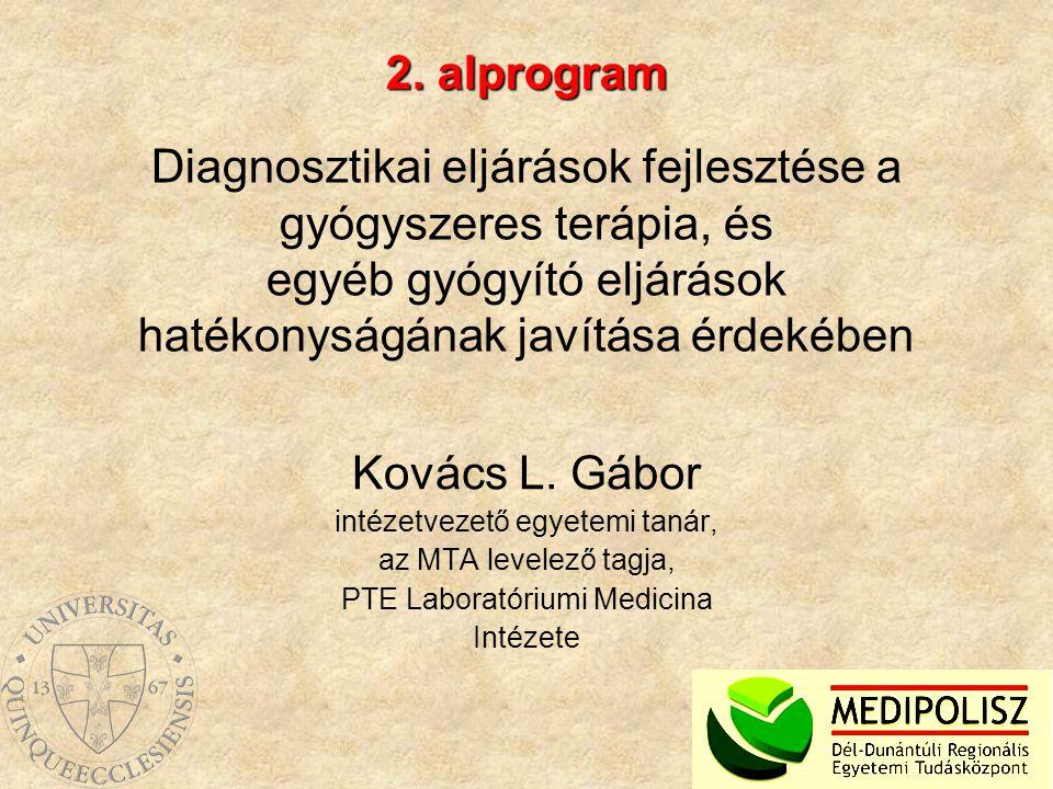 2. alprogram Diagnosztikai eljárások fejlesztése a gyógyszeres terápia, és egyéb gyógyító eljárások hatékonyságának javítása érdekében.
