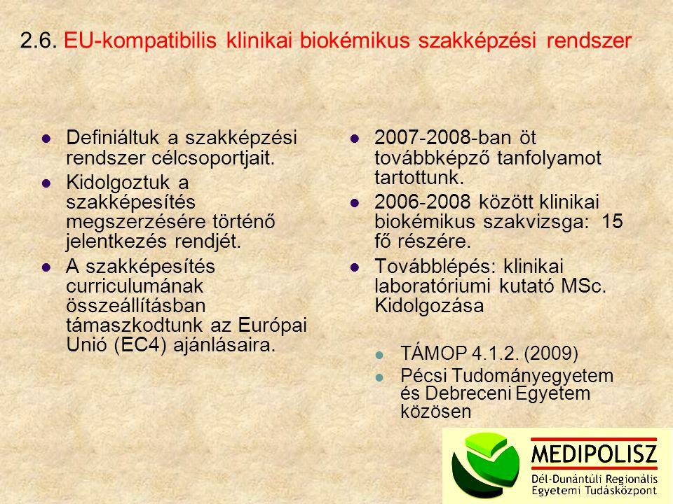 2.6. EU-kompatibilis klinikai biokémikus szakképzési rendszer