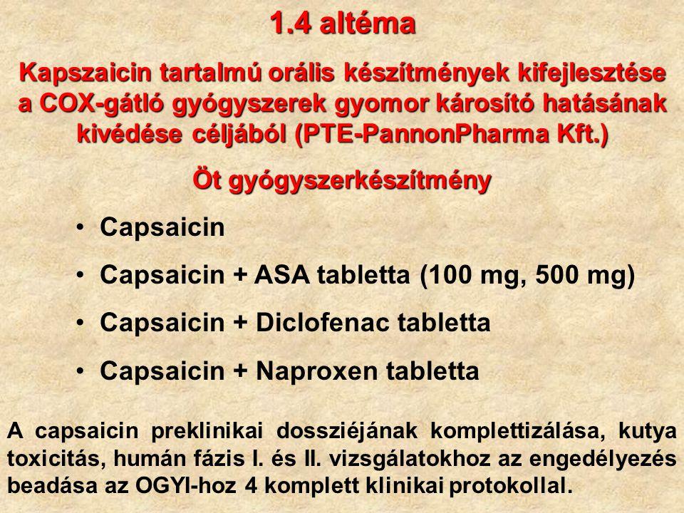 Öt gyógyszerkészítmény